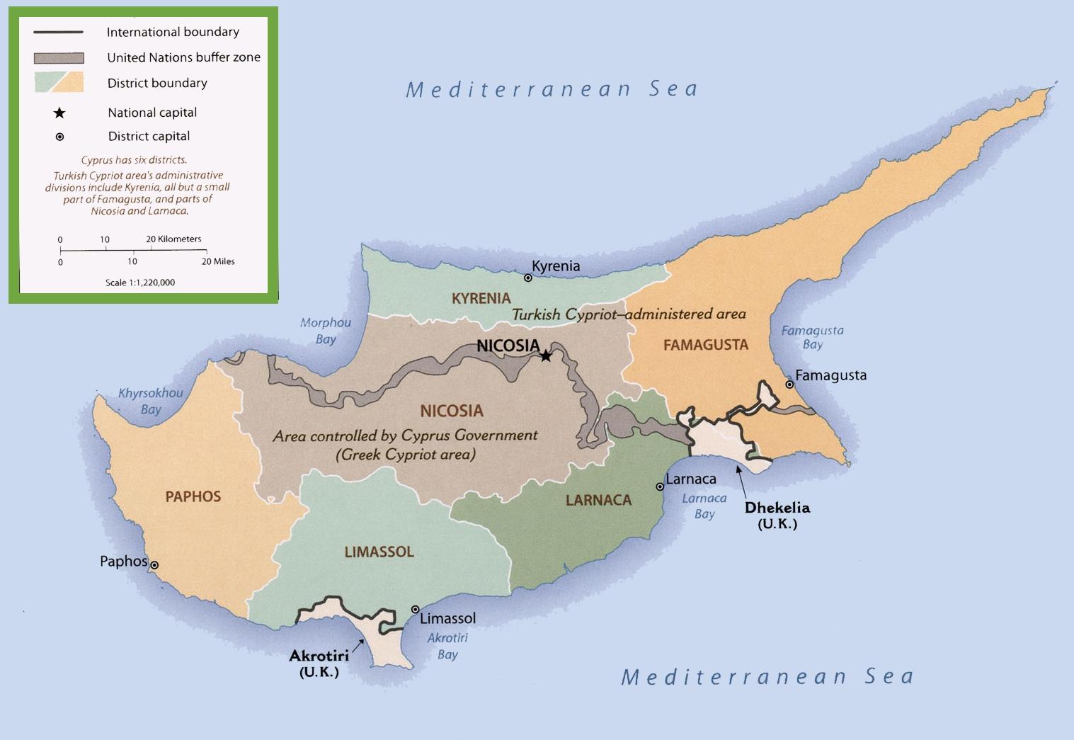 Politička mapa Kipra